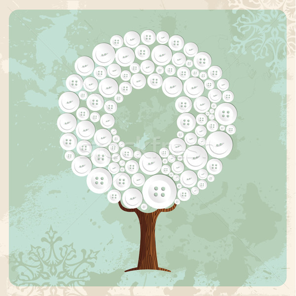 Tree made of fashion buttons decoration Stock photo © cienpies