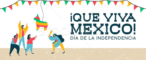 Stock photo: Mexico Independence banner of mexican pinata party
