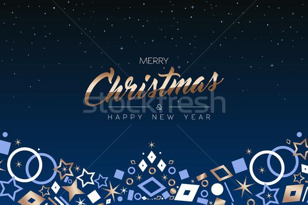 Navidad año nuevo cobre icono ornamento tarjeta Foto stock © cienpies