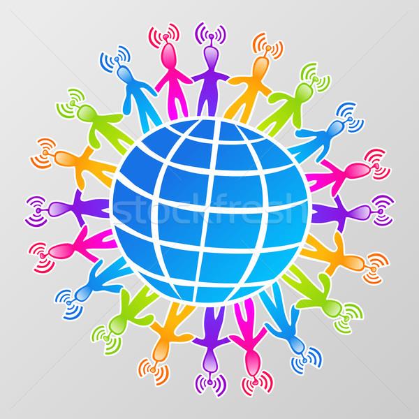 Globale rete connessione mondo uomo Foto d'archivio © cienpies