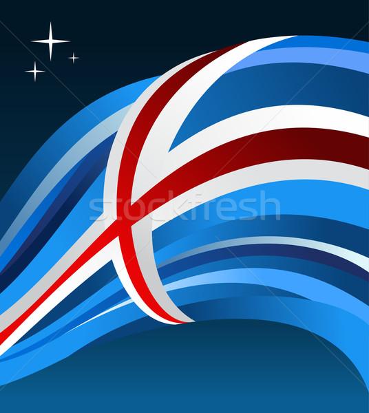 Islândia bandeira ilustração azul vetor arquivo Foto stock © cienpies