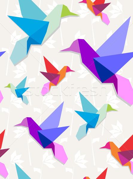 оригами шаблон пастельный цветами цветок Сток-фото © cienpies