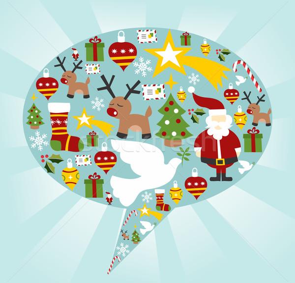 Foto stock: Natal · balão · de · fala · forma · vetor