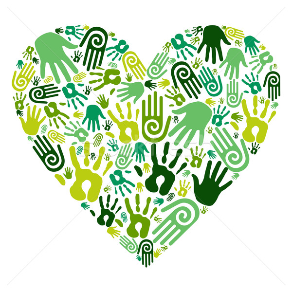 Go green hands love heart Stock photo © cienpies