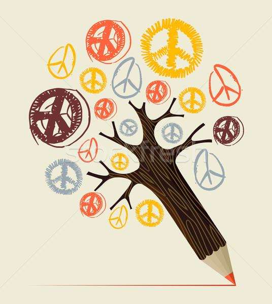 Paz ícone árvore lápis amor diversidade Foto stock © cienpies