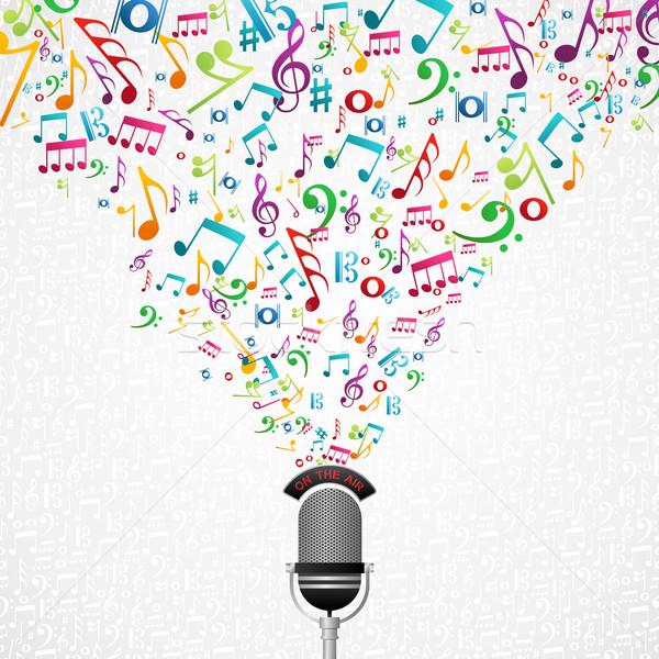 Hangjegyek mikrofon terv színes csobbanás vektor Stock fotó © cienpies