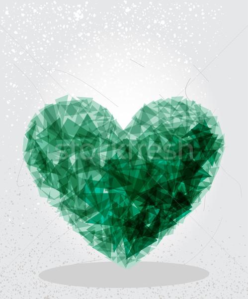 Stock fotó: Zöld · szív · mértani · forma · modern · szív · alak