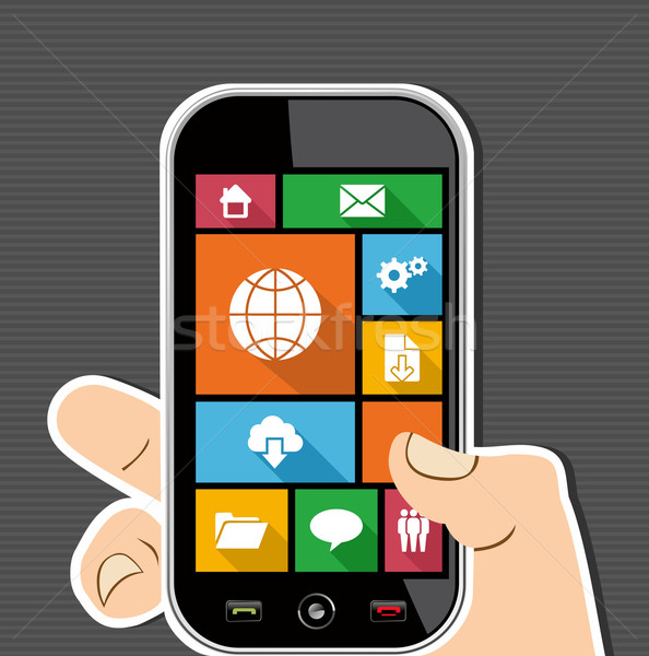 Colorful Web mobile UI apps user interface flat icons. Stock photo © cienpies