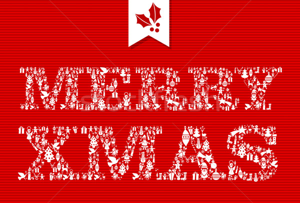 Merry Christmas icons text composition illustration. Stock photo © cienpies