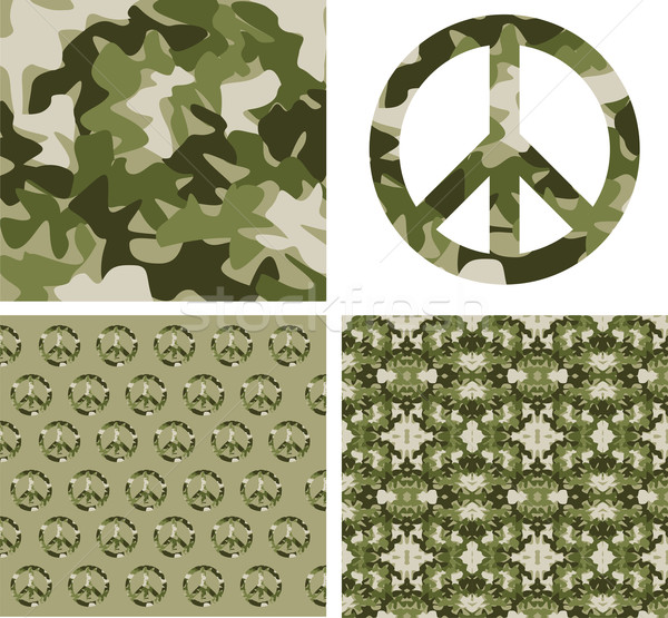 Camouflaged peace patchs Stock photo © cienpies