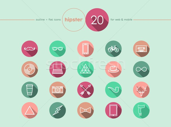 Stock photo: Hipster flat icons set