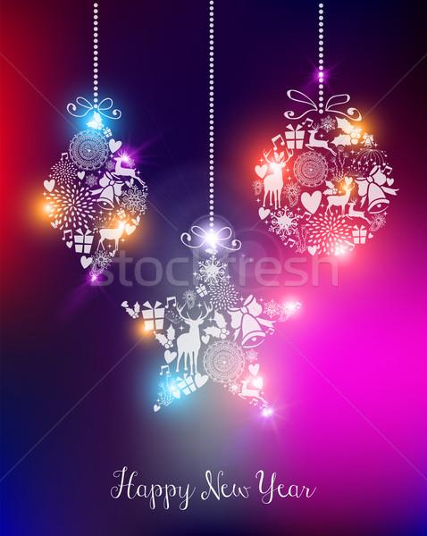 明けましておめでとうございます 2015 エレガントな ライト カード グリーティングカード ストックフォト © cienpies