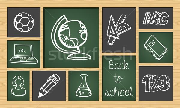 Back to school sketch icon set Stock photo © cienpies