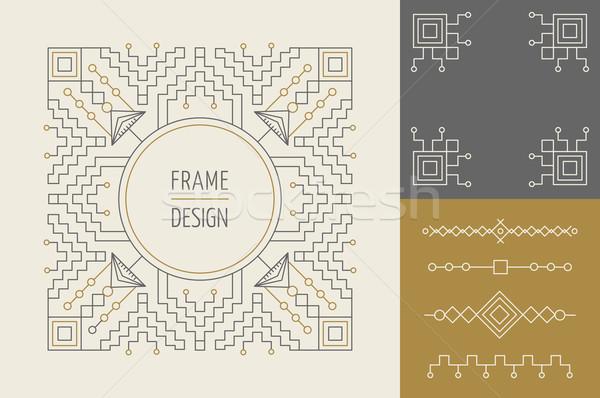 Retro vintage set of line monogram frame design Stock photo © cienpies