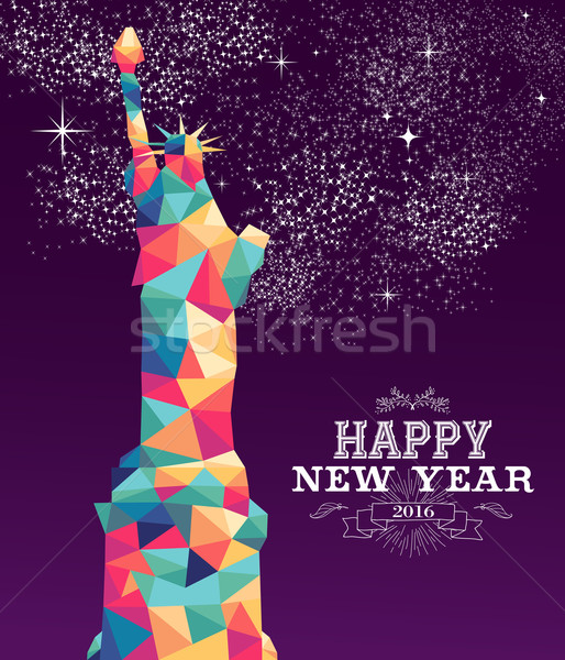 Happy new year 2016 america color triangle hipster Stock photo © cienpies