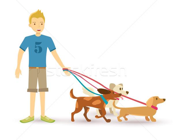 Boldog tini sétál kutya díszállat illusztráció Stock fotó © cienpies