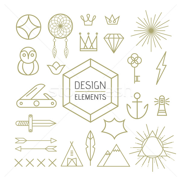 Design element set outline line art shapes Stock photo © cienpies
