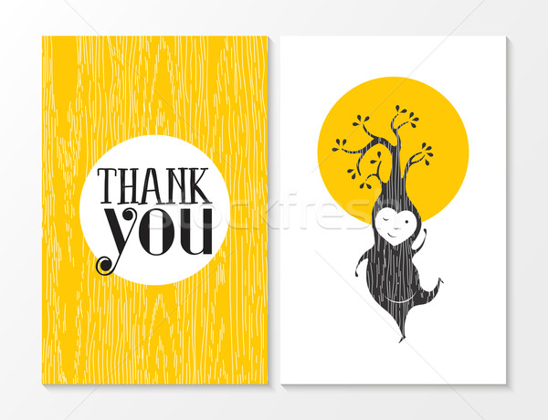 Thank you greeting card elf happy wood background Stock photo © cienpies