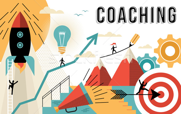 Coaching concept line art colorful modern design Stock photo © cienpies