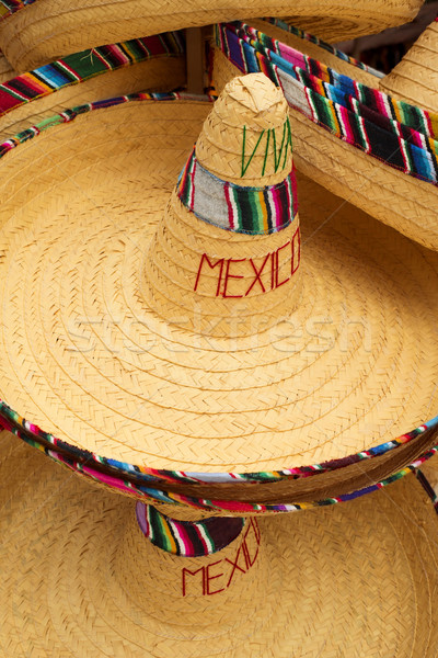Display of mexican hats with viva mexico text Stock photo © cienpies