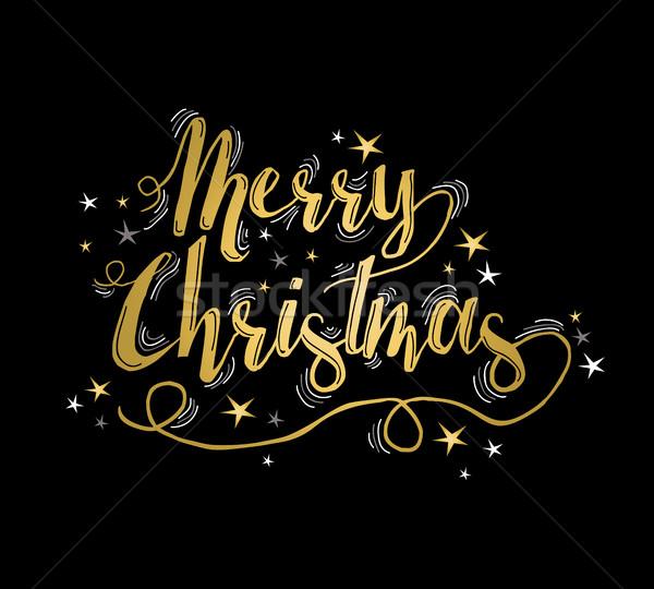 Alegre natal ouro cartão estrelas projeto Foto stock © cienpies