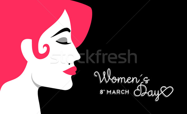 Women's Day 8 march design with girl face Stock photo © cienpies