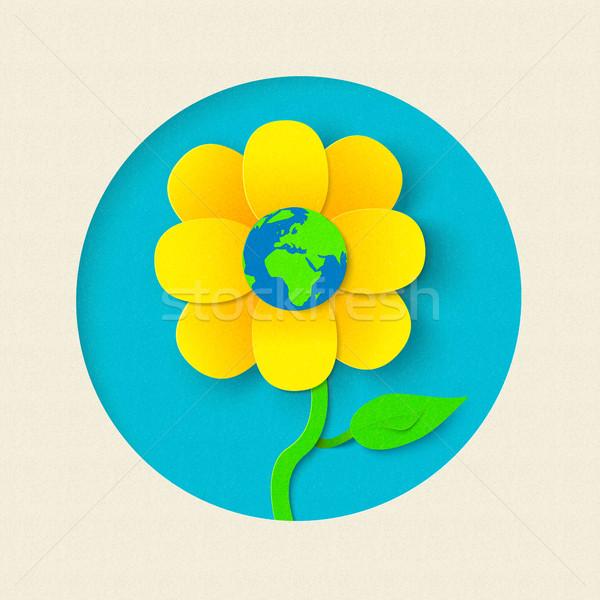 Föld napja papír kivágás virág világ stílus terv Stock fotó © cienpies