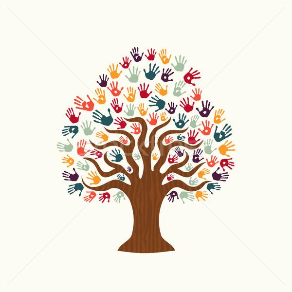 Foto stock: árvore · mão · ilustração · diverso · pessoas · equipe