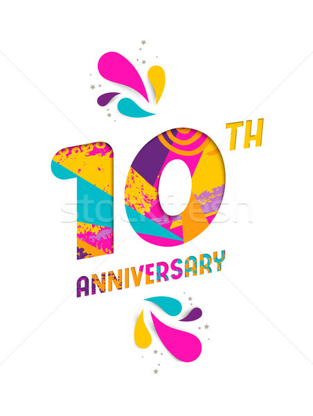 Happy 10 year anniversary paper cut greeting card Stock photo © cienpies