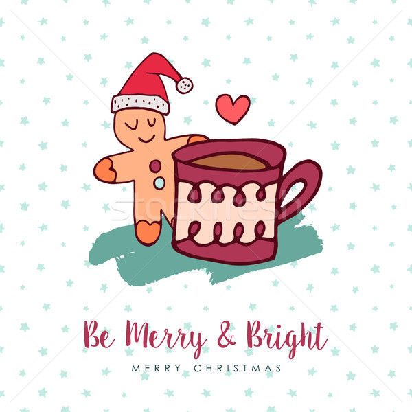Christmas cute gingerbread man holiday cartoon Stock photo © cienpies