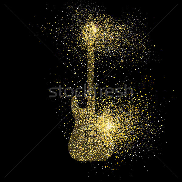 Guitare électrique or glitter art symbole illustration Photo stock © cienpies