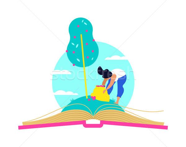 Stock fotó: Fa · növekvő · nyitott · könyv · oktatás · nő · szőlőszüret