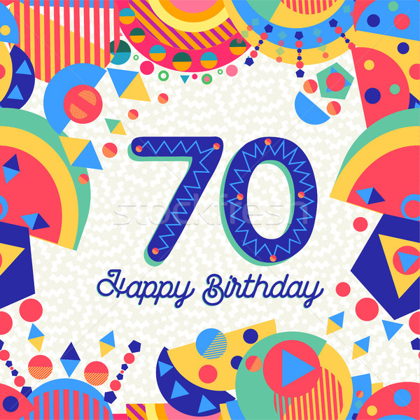 70 seventy year birthday party greeting card Stock photo © cienpies
