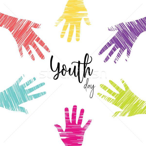 молодежи день карт молодые люди рук Сток-фото © cienpies