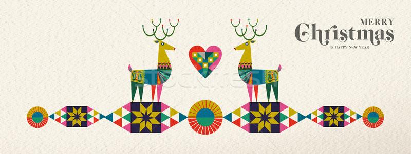 Natale capodanno retro geometrica cervo banner Foto d'archivio © cienpies