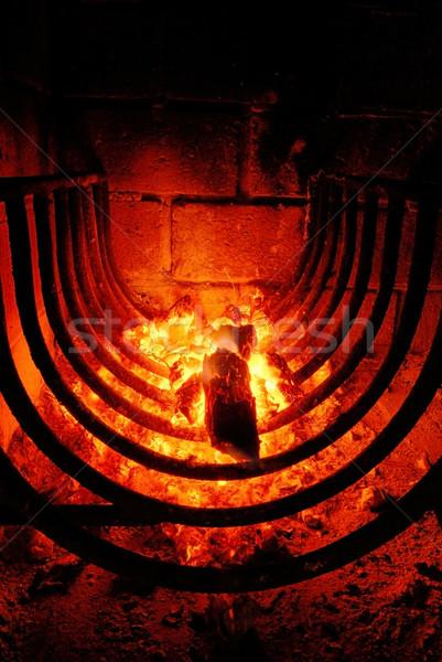 Barbekü yangın içinde tuğla fırın gıda Stok fotoğraf © cienpies