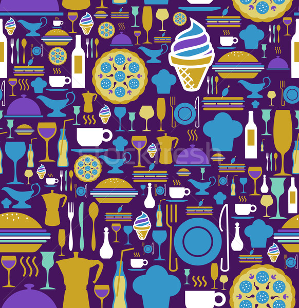 Gourmet icon set seamless pattern. Stock photo © cienpies