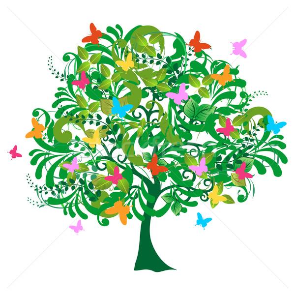 Сток-фото: изолированный · аннотация · весны · время · дерево · цветы