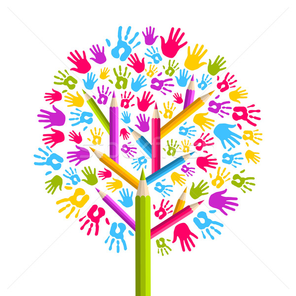 Diversity education Tree hands Stock photo © cienpies