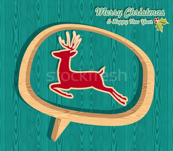 Retro wooden Christmas banner Stock photo © cienpies