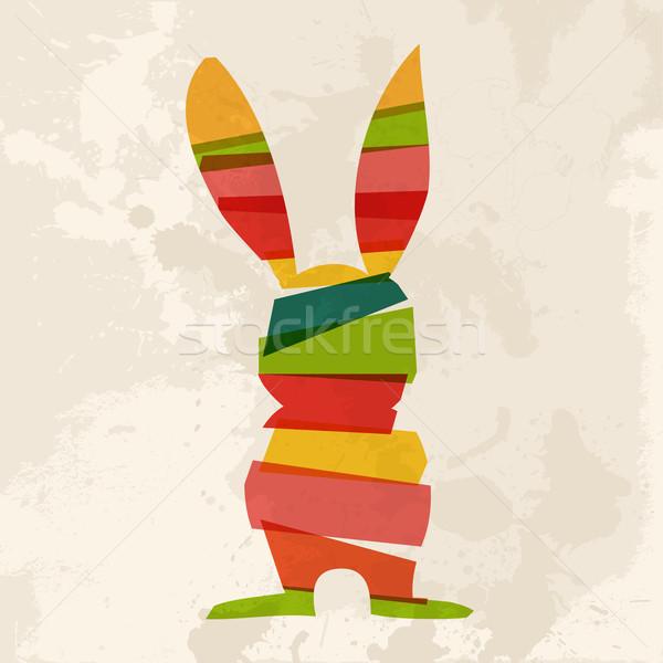 Diversidad grunge Conejo de Pascua transparente eps10 Foto stock © cienpies