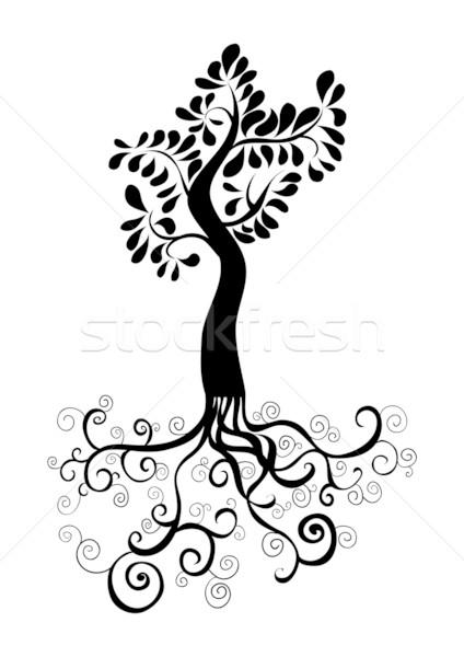 Stock photo: Black tree silhouette