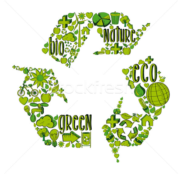 Stock photo: Green recycling symbol with environmental icons
