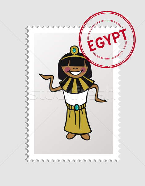 Egypt cartoon person travel stamp. Stock photo © cienpies