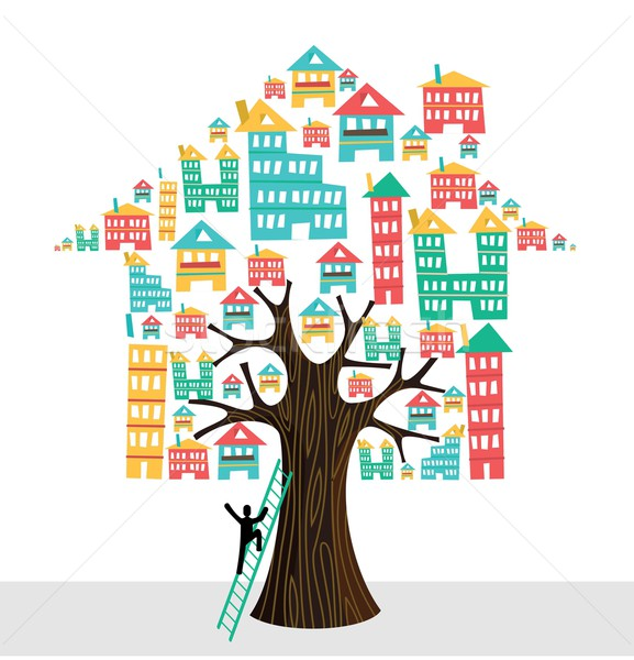 Real estate tree house icons human with ladder, rental concept. Stock photo © cienpies