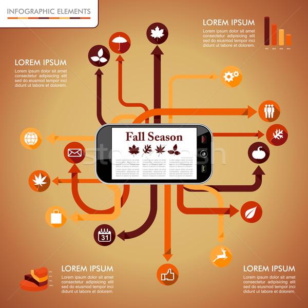 Осенний сезон Инфографика мобильных сеть графических шаблон Сток-фото © cienpies