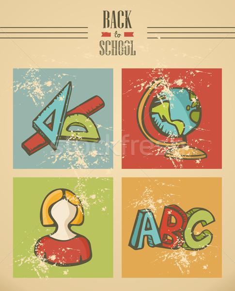 Back to school text education ribbon icon set. Stock photo © cienpies