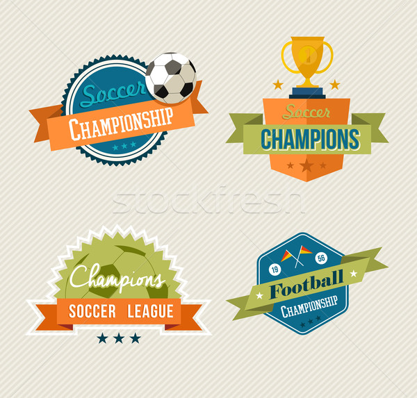 Soccer vintage labels set Stock photo © cienpies