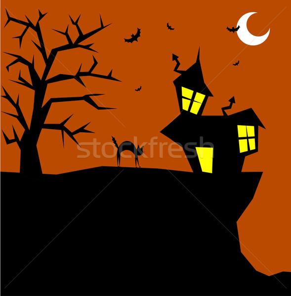 Zdjęcia stock: Halloween · kot · scary · wektora · drzewo · dzieci