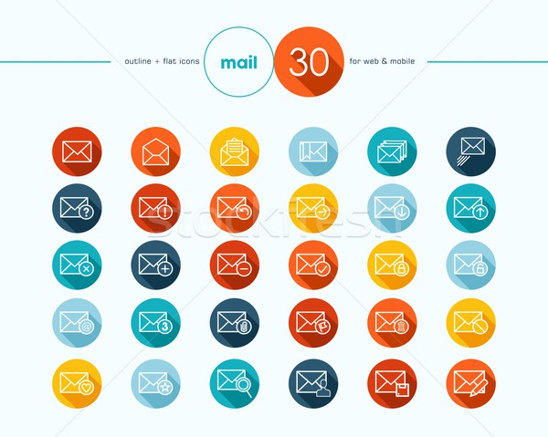 Emailing flat icons outline style set Stock photo © cienpies